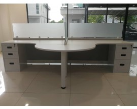 "5' x 5' Open Cubicle With 16"" Stack On Safety Glass with Full 3 Drawer Pedestal"