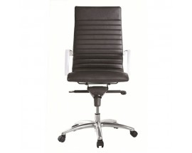 Zetti High Back Executive Leather Chair in Black/ White/ Gray / Sand - $259 IN STORE PRICE