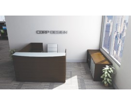 Corp Design Espresso Reception with Credenza