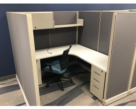 4 - 6' x 6' Grey Double Pedestal cubicles