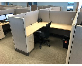 "PREOWNED  6X6' HERMAN MILLER A02 WORKSTATIONS WITH PEDESTAL AND 48"" SHELF POWERED"