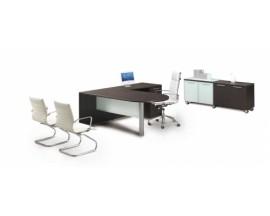 Bullet end L-Shaped desk, glass modesty