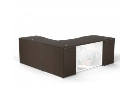 Potenza L Shaped Desk W/ Glass Modesty