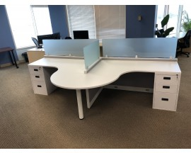 """NEW 5' x 5' Open Cubicle With 16"""" Stack On Safety Glass with Full 3 Drawer Pedestal"""