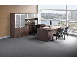 Bow Front U Shaped Desk w/ Credenza, Hutch, Lateral file and Storage Cabinet Combo Suite PL101