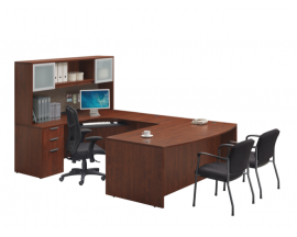 Bowfront U Shape Desk with Hutch and keyboard traySuite PL105