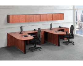 DUAL BULLET DESK WORKSTATION WITH WALL MOUNTED HUTCHES Suite PL111