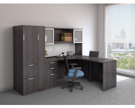 L Shape Corner Desk with Hutch and Personal Storage Cabinet Suite PL112