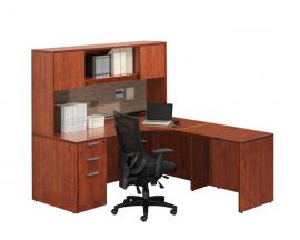 L Shaped Corner Desk with Hutch Suite PL113