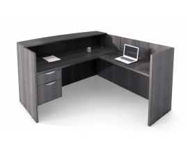 "72""X 72"" L Shaped Reception Desk, Laminate Transaction Top, Hanging Box File Drawer Suite PL123"