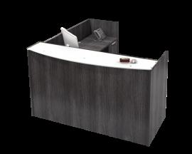 "72"" x 72"" L Shaped Reception Desk, Glass Transaction Top, With Storage options Suite PL124"