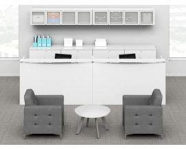 White Dual 12' Reception Station w/ Lateral File, Storage Cabinets, Wall Mounted Hutches Suite PL126