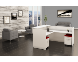 White L Shape Reception Desk with Mobile Files Suite PL127