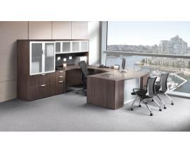 Bowfront U Shaped Desk with Credenza,Hutch and Storage Cabinet Lateral File Combo Suite PL128