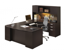 "72"" Bow Front U Shaped Desk w/ Credenza and Hutch Suite PL129"