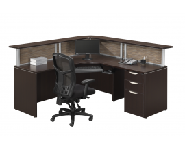 L Shaped Reception Desk w/ Transcation Counter- Suite PLB303