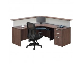 L Shaped reception Desk  W/ Transaction Counter  Suite PLB305