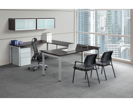 U Shaped Desk with U Legs with Wall Mounted Hutch and Mobile Pedestal - Suite PLT201