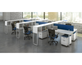 Work Stations with Overhead Storage and Mobile Pedestals   - Suite PLT209