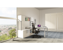 Work Station with Lateral File, Open Shelf and Hutch Suite PLT212