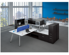 Quad V Leg Beveled Surface Workstation with Open Shelves, Lateral Files, Single Pedestal Book Case Combo Suite PLT221