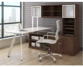 V Leg Beveled Surface Workstation with Hutch, Open Storage Shelves and Lateral File - Suite PLT222