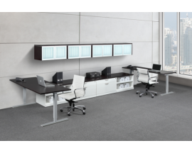 Adjustable Height Work Station  with Wall Mounted Hutches, Lateral Files and Open Storage Shelves - Suite PLT223