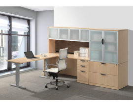 Adjustable Height Desk with Credenza, Hutch, Lateral File / Storage Cabinet Combo  Suite PLT224