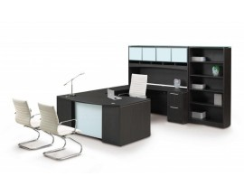 Potenza U-Shaped Desk with Glass modesty and bookcase